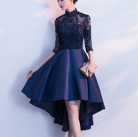 cf387c2926522 ... 大きいサイズ 可愛い スタンドカラー 七分袖 ショートスカート - セクシーキャバ嬢ドレス 人気のパンツドレスセットアップ  フォーマルドレス通販Dressy Lily