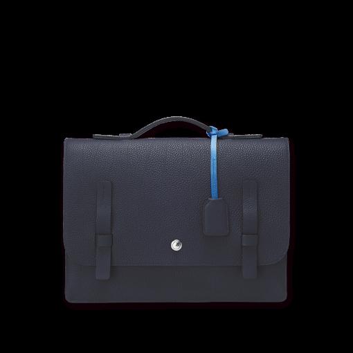 T Briefcase(L)<br>German Shrunken Calf×Soft Calf<br>Arctic Blue×Ink Blue