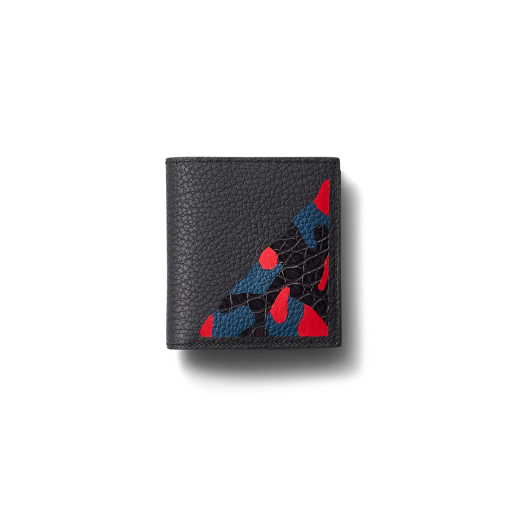 Compact Wallet with Coin Case/SM<br>Shrink Calf×Mississippi Alligator<br>Black