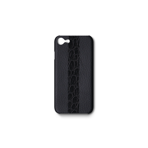 iPhone 7, 8 & SE Case/ST<br>French Crisp Calf×Mississippi Alligator<br>Black×Black