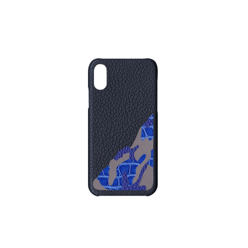 iPhone X&XS Case/SM<br>French Crisp Calf×Mississippi Alligator<br>Midnight Blue