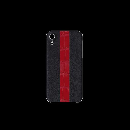iPhone XR Case/ST<br>French Crisp Calf×Mississippi Alligator<br>Black×Glossy T-Red