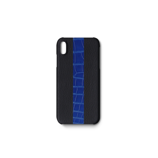 iPhone XS Max Case/ST<br>French Crisp Calf×Mississippi Alligator<br>Black×Glossy Sapphire Blue