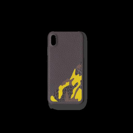 iPhone XS Max Case/SM<br>French Crisp Calf×Mississippi Alligator<br>Titanium