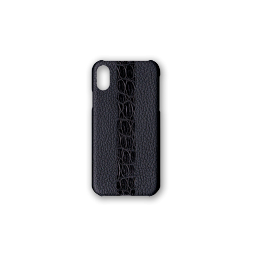 iPhone X&XS Case/ST<br>French Crisp Calf×Mississippi Alligator<br>Black×Black