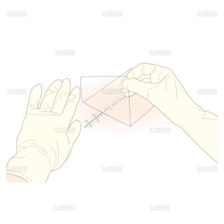 ドレッシングの方法/ドレッシング材を剥がす (Sサイズ)