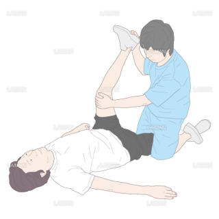膝関節屈曲位で股関節を屈曲するストレッチング(Sサイズ)