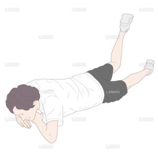 腹臥位・膝関節屈曲位で股関節を伸展するトレーニング(Sサイズ)