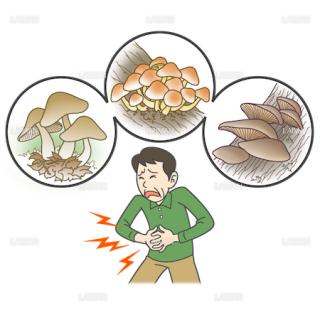 患者イラスト 食中毒(毒キノコを誤食)(Mサイズ)