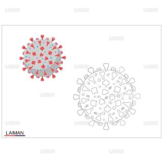 <塗り絵>新型コロナウイルス(SARS-CoV-2)の構造_外観
