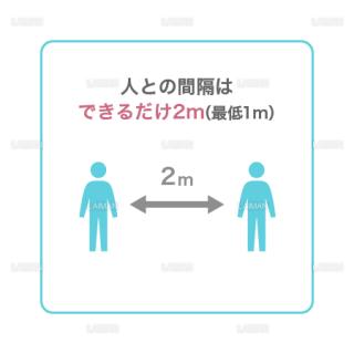 【新しい生活様式】人との間隔はできるだけ2m(最低1m)(タイプ1・Mサイズ)