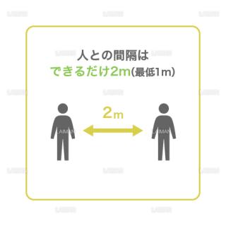 【新しい生活様式】人との間隔はできるだけ2m(最低1m)(タイプ2・Mサイズ)