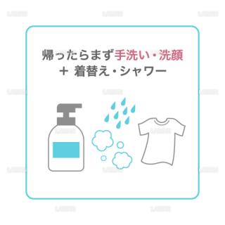 【新しい生活様式】帰ったらまず手洗い・洗顔 + 着替え・シャワー(タイプ1・Mサイズ)