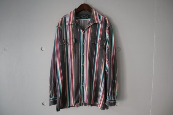 90's Polo Country Native Stripe Open Collar Shirts Size:M