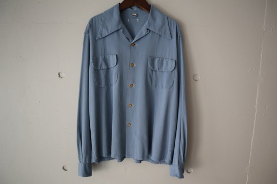 40's〜 Unknown Rayon Gabardine Open Collar Shirts Size:M