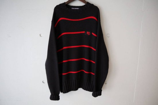 90's Polo Sport Border Cotton Knit Size:L