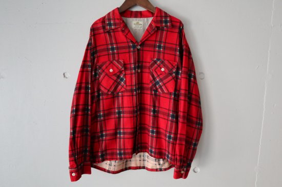 60's Manor House Print Flannel Open Collar Shirts Size:M