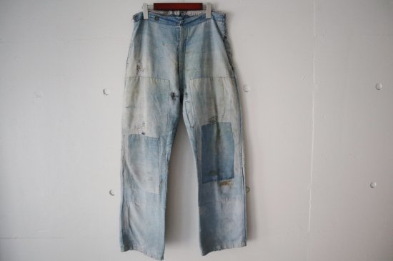 ~30's Unknown Indigo Linen French Work Pants Size:31×29