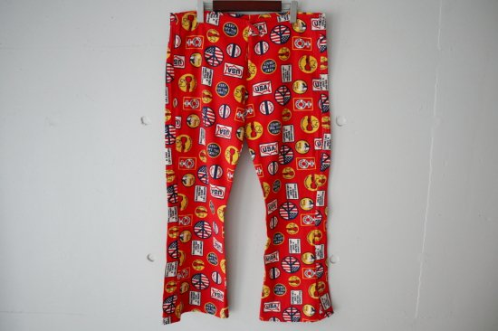 70's Woodstock Overall pattern Flare Pants Size:36×27.5