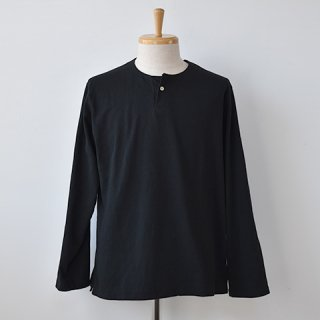 【Jackman】Henley Long Sleeve T-Shirts  -BLACK-