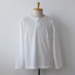 【Jackman】 Henley Long Sleeve T-Shirts  -WHITE-