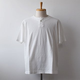 【Jackman】 Henley Short Sleeve T-Shirts  -White-