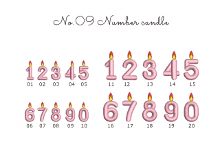 【刺繍データダウンロード】2-06 Number candle