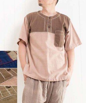 草木染め手織り綿の手縫いプルオーバー/半袖