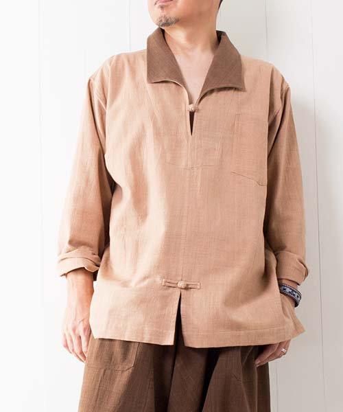 草木染め手織り綿のスキッパー(ライトブラウン)