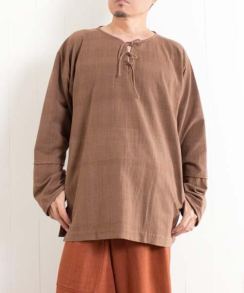 草木染め手織り綿の胸元紐結びプルオーバー(ブラウン1) sale