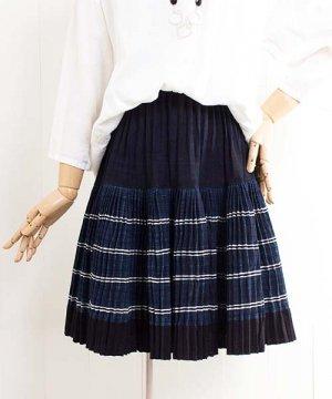 モン族藍染バティック・プリーツミニスカート(g2)