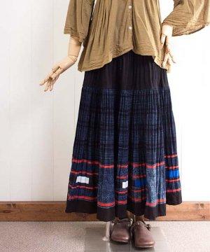 モン族藍染バティック・ロングスカート(g5)