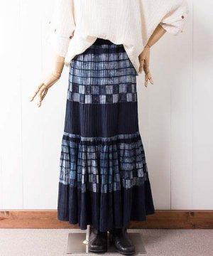 モン族藍染バティック・ロングスカート(g6)