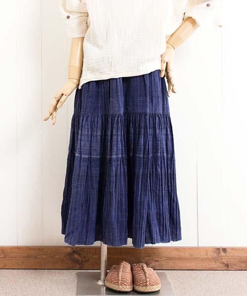 モン族藍染め手織りヘンプ・ロングスカート(e35)