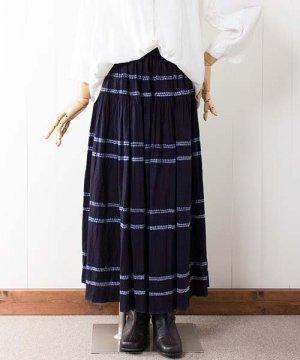 モン族藍染めバティックコットン・ロングスカート(e37)