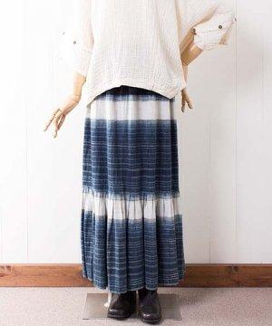 モン族藍染ヘンプ・ロングスカート(24)
