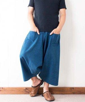 藍染め手織り綿のリスパンツ