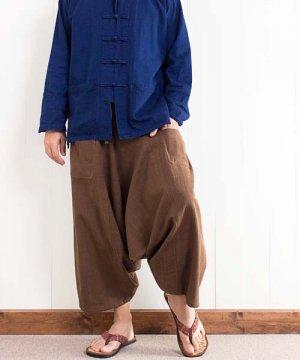草木染め手織り綿のリスパンツ