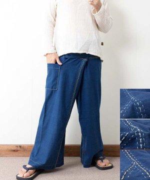 藍染め手織り綿の手縫いタイパンツ(インディゴ)