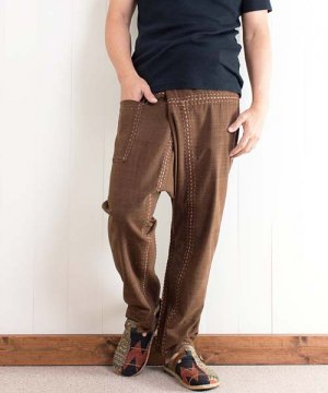 草木染め手縫いスキニータイパンツ