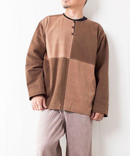 草木染め手織り綿の4ブロックチェックプルオーバー(1)