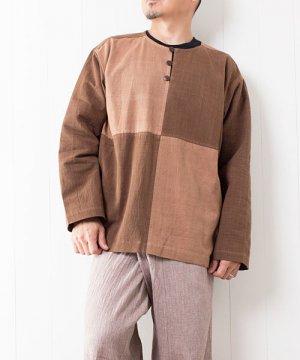 草木染め手織り綿の4ブロックチェックプルオーバー(1) sale