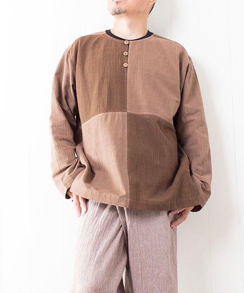 草木染め手織り綿の4ブロックチェックプルオーバー(2)
