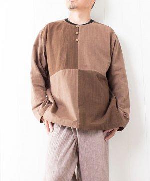 草木染め手織り綿の4ブロックチェックプルオーバー(2) sale
