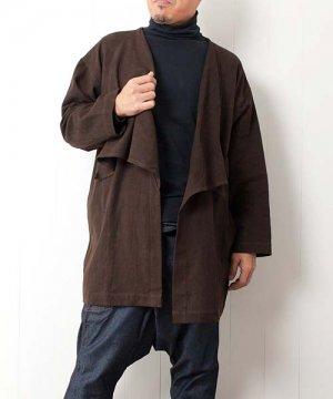 草木染め手織り綿のビッグカラーデザインジャケット sale