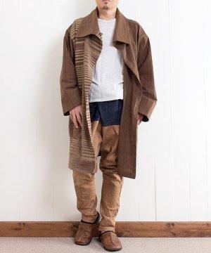 草木染め手織り綿のビッグカラーデザインコート