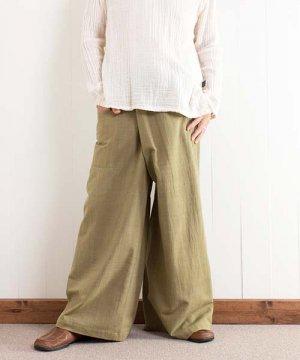 草木染め手織り綿のタイパンツ(グリーン)