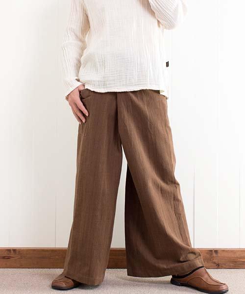 草木染め手織り綿のタイパンツ (ブラウン)