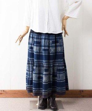 モン族藍染バティック・ロングスカート(g3)