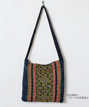 モン族刺繍布斜めがけバッグ(10)/イエロー刺繍系